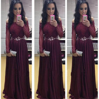 Long Sleeve Lace A-Line Prom Dresses