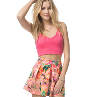 Aeropostale Womens Watercolor Floral Pleated Skirt - Earthly,