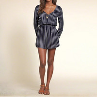 Striped Drapey Romper