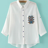 White Embroidery Dipped Hem Sheer Blouse