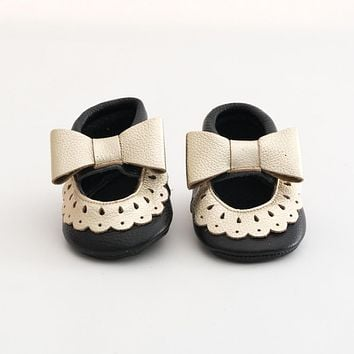 Bow Baby Mary Jane Leather Sandals Black/Gold