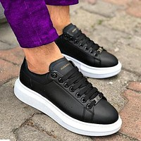 Alexander McQueen New Tyle Fashionable Women Men Casual Sports Running Shoes Sneakers Black+white soles