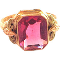 Signed 10kt Yellow, Rose & Green Gold Ring w/ Pink Stone circa 1930