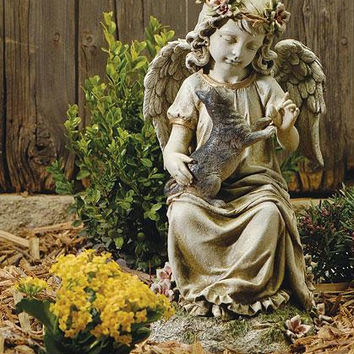 Outdoor Garden Statue - Featuring An Angel And Kitty