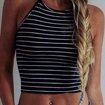 Navy Stripe Halter Crop Top
