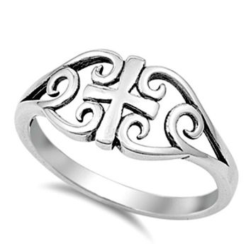.925 Sterling Silver Double Heart Cross Ring Ladies size 4-9