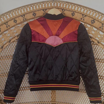 PREORDER Rising Sun Bomber in Black Quilted 70s style satin Jacket lightweight ski as seen on @classicrockcouture 1970s sunburst red orange