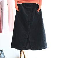 Vintage Winter A-line Skirts Womens High Waist Corduroy Casual Skirt Female Autumn Elastic Waist Medium-long Skirts