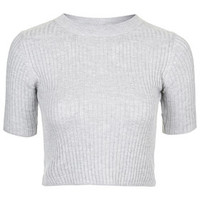 PETITE Ribbed Funnel Neck Crop Top - Grey Marl