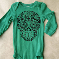 Cute Mendhi Sugar Skull Baby Romper. Long Sleeve Onesuit. Green baby bodysuit. Trendy kids clothes. 6 months 12 months. Infant Onesuit