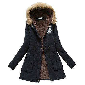 New Casual Outwear Military Hooded Fur Thickening Cotton Winter Jacket