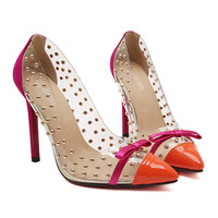 Transparent Dot Rivet Bowknot Pointed High Heel Thin Shoes   orange