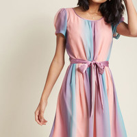 Chiffon A-Line Dress with Short Sleeves