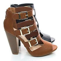 Mash13 By Bamboo, Peep Toe Stacked Chunky Heel Zipper Triple Buckle Strappy Sandals
