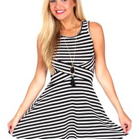 Bold And Beautiful Black And White Striped Dress   Monday Dress Boutique