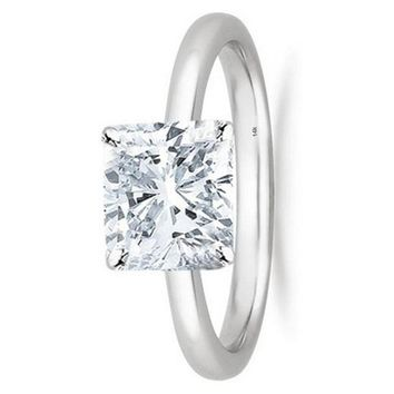 1/2 - 2 Carat GIA Certified 14K White Gold Solitaire Cushion Cut Diamond Engagement Ring (I-J Color, VS1-VS2 Clarity)
