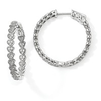 Sterling Silver Rhodium-plated CZ In & Out Heart Round Hoop Earrings QE13015