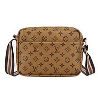 Louis Vuitton LV Women Shopping Bag Leather Shoulder Bag Crossbody Satchel Brown