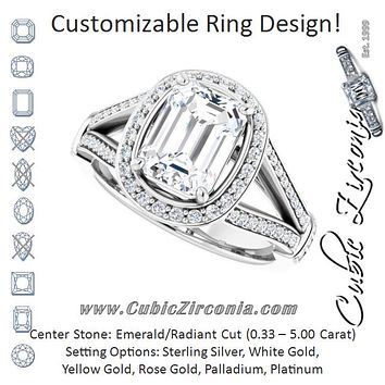 Cubic Zirconia Engagement Ring- The Cecelia  (Customizable Radiant Cut Setting with Halo, Under-Halo Trellis Accents and Accented Split Band)