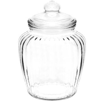 Glass Optic Candy Jars with Glass Lids - 60-Ounce: 4-Piece Case