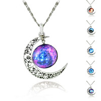 Galaxy Necklace Lovely Moon Galaxy Nebula Space Antique Silver Alloy Pendant Platinum Plated Chain Necklace Couple Gift