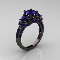 French 14K Black Gold Three Stone Blue Sapphire by artmasters