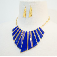 Royal/ Gold Oceanaire Necklace & Earrings Set