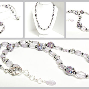 Vintage Style Amethyst Necklace with Lavender Mother of Pearl Resin Accent Beads - Wedding Necklace - Evening Wear - Violet Tulip - Gemstone