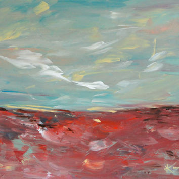 Original Landscape Acrylic Abstract Painting 16x20 Red Turquoise Blue Green Pink Painting Stretched Canvas