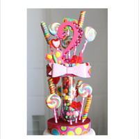 Candy Land Lollipop Birthday Cake Topper