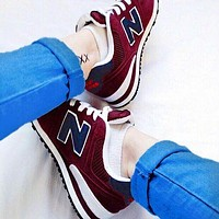 New Balance Casual running shoes Sports shoes Z-Letters Classic Sneakers Shoes Burgundy-1