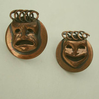 Comedy Tragedy Copper Earrings Vintage Screw style Vintage Jewelry