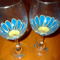Pair of Large Painted Wine Glasses with Blue and Yellow Daisy Flowers Matches Candy Dish Handmade Housewarming Gift Wedding Fall
