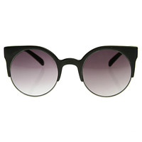 Super Round Half Frame Cat Eye Indie Sunglasses 8524
