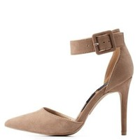 Taupe Ankle Strap D'Orsay Pointed Toe Pumps by Charlotte Russe