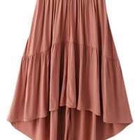 Pink Knee Length Elastic Waist High Low Skirt