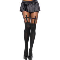 Seamless Pantyhose Stockings Opaque Cross Pattern High Waist Gothic Tights