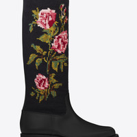 SAINT LAURENT MOTORCYCLE 15 NEEDLEPOINT HIGH BOOT IN BLACK LEATHER   YSL.COM