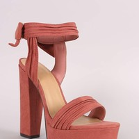 Bamboo Ruched Suede Bow Ankle Cuff Chunky Platform Heel