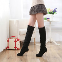 Autumn Winter Fashion Women Faux Suede Casual Women Over The Knee Stretchy High Heel Boots
