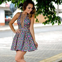 Sleeveless Floral Bandage Dress Gift-213