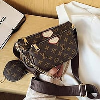 LV Louis Vuitton Multi Women's Multi-purpose Mahjong Bag Three-piece Set