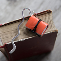 Leather bookmark, recycled bookmark, miniature book charm, book mark, page holder, page marker, book lover, book jewelry - tangerine
