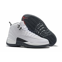 2019 Air Jordan 12 Retro AJ 12 White/Dark Gray Basketball Shoes