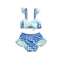 Toddler Kids Baby Girls printed plaid bikini set high waist bandeau Swimsuit Bathing suit Tankini Swimwear Beachwear biquini