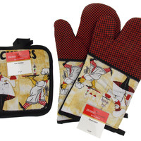 Chef Cafe Drinks Cheers Set 4 Oven Mitt Gloves Pot Holders Home Concepts Kitchen