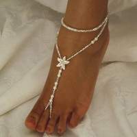 Starfish Pearl Beach Wedding Foot Jewelry Anklet Destination Wedding Bridal Accessorie Bridesmaids Gif ONE PAIR