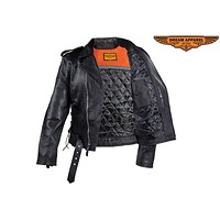 Mens Classic Police Style Motorcycle Jacket With Side Laces