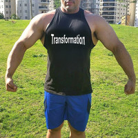 Transformation men's muscle tank crop tank top bodybuilding Gym muscle workout weight lifting fitness tank