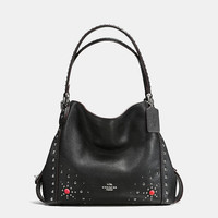 Edie Shoulder Bag 31 in Polished Pebble Leather With Western Rivets